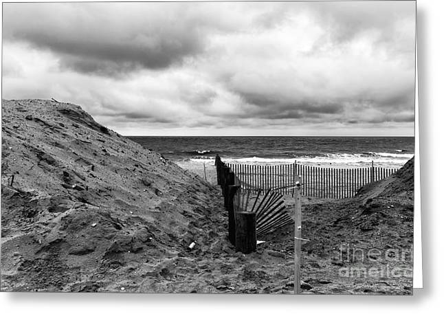Seaside Height Greeting Cards - Seaside Heights No Boardwalk mono Greeting Card by John Rizzuto