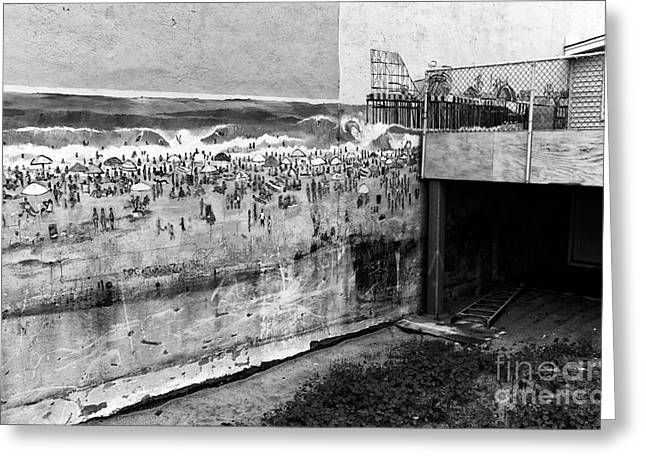 Seaside Height Greeting Cards - Seaside Heights on the Wall mono Greeting Card by John Rizzuto