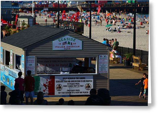 Restore The Shore Greeting Cards - Seaside Italian American Club Greeting Card by Richard Cheski