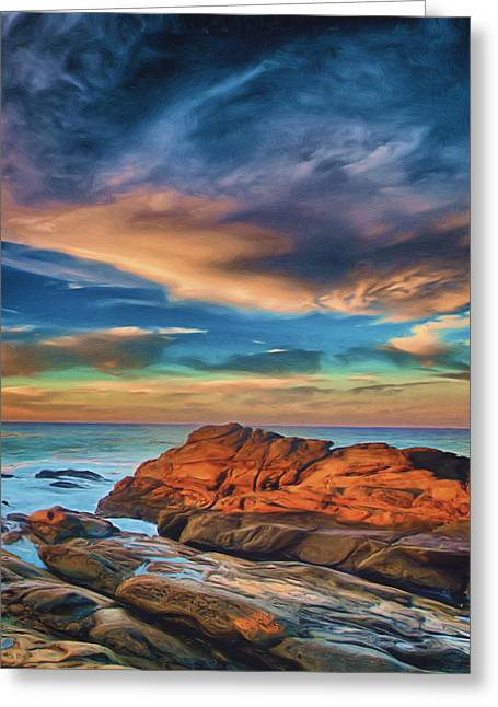 Sunset Seascape Mixed Media Greeting Cards - Seaside Greeting Card by Joel Olives