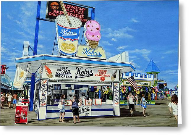 Seaside Heights Paintings Greeting Cards - Seaside Memories Greeting Card by Daniel Carvalho
