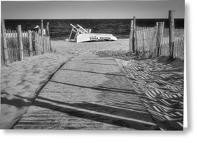 Seaside Heights Greeting Cards - Seaside Park New Jersey Shore BW Greeting Card by Susan Candelario