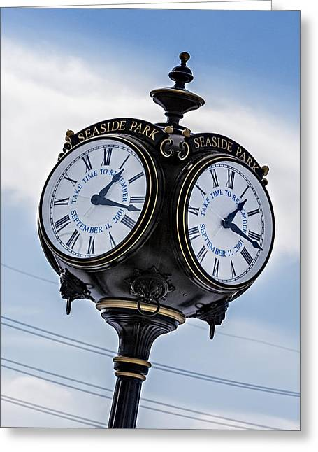 Seaside Height Greeting Cards - Seaside Park September 11 Memorial Clock Greeting Card by Susan Candelario