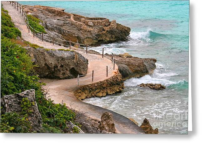 Isla Mujeres Greeting Cards - Seaside Path Greeting Card by Charline Xia