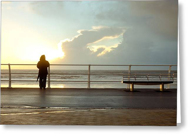 Pause Greeting Cards - Seaside person Greeting Card by Tom Gowanlock