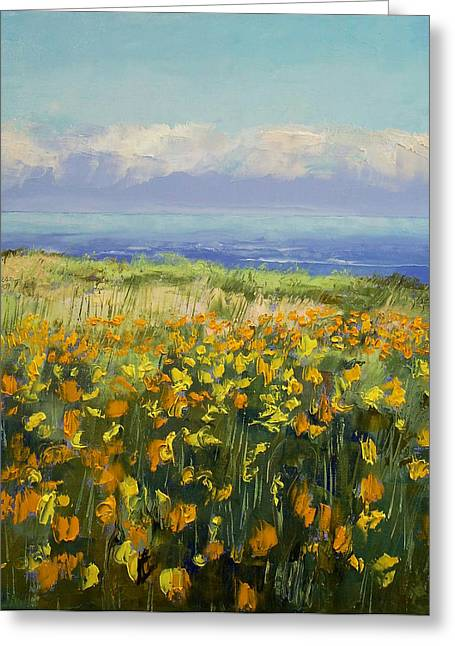 Poppies Prints Greeting Cards - Seaside Poppies Greeting Card by Michael Creese