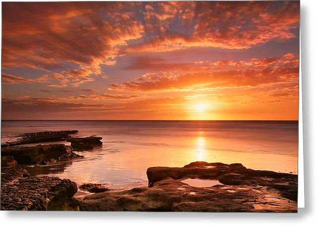 Seaside Reef Sunset 15 Greeting Card by Larry Marshall