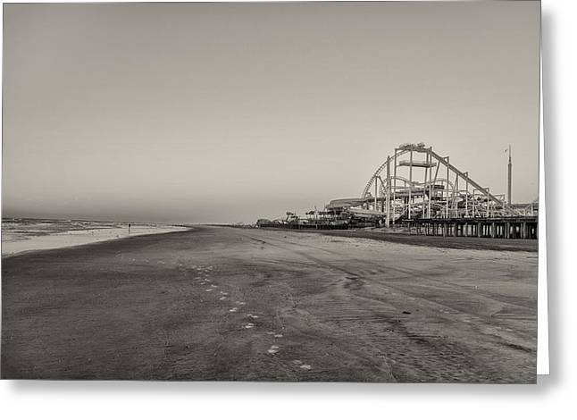 Seaside Roller Coaster - Wildwood New Jersey In Sepia Greeting Card by Bill Cannon