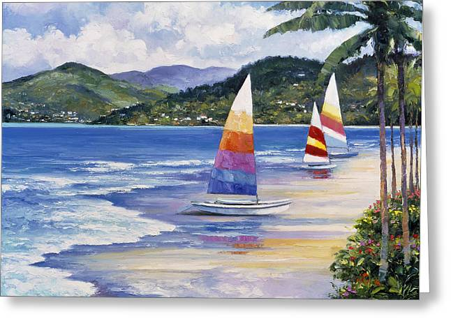 Seaside Sails Greeting Card by John Zaccheo