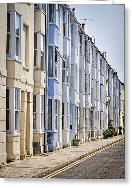 Row Homes Greeting Cards - Seaside Street Greeting Card by Heather Applegate