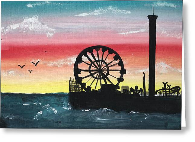 Seaside Heights Paintings Greeting Cards - Seaside Sunset Greeting Card by Amanda Smentkowski