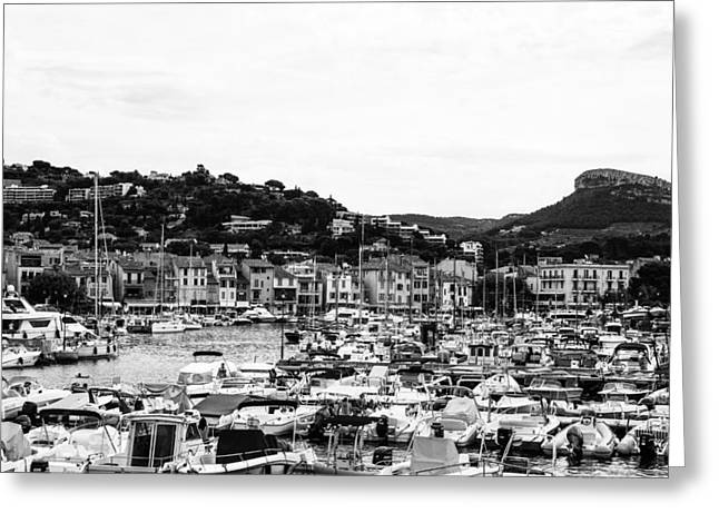 South Of France Greeting Cards - Seaside Town in France Greeting Card by Nomad Art And  Design