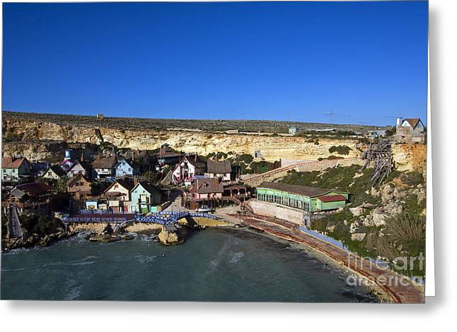 Clapboard House Greeting Cards - Seaside Village, Malta Greeting Card by Tim Holt