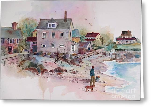 New England Village Paintings Greeting Cards - Seaside Village Greeting Card by Sherri Crabtree
