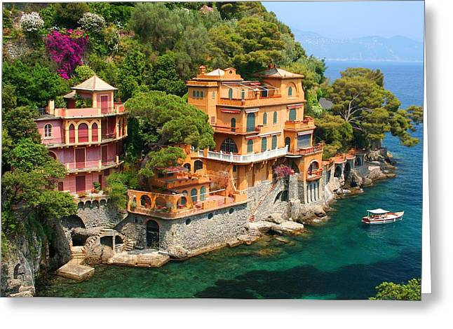 Portofino Italy Photographs Greeting Cards - Seaside Villas Greeting Card by Dan Breckwoldt