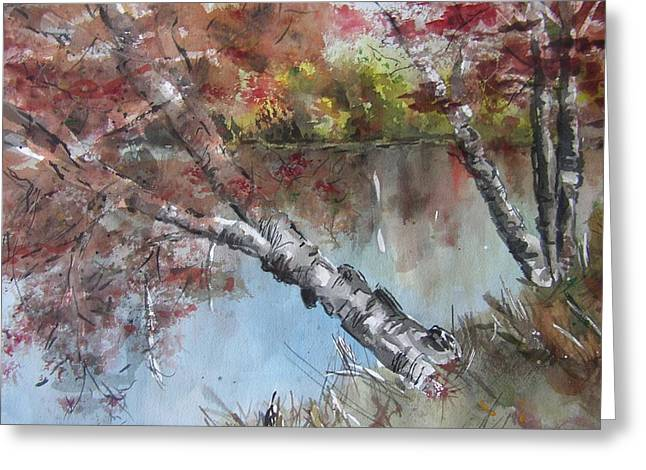 Rivers In The Fall Paintings Greeting Cards - Season of Change Greeting Card by Stephanie Sodel