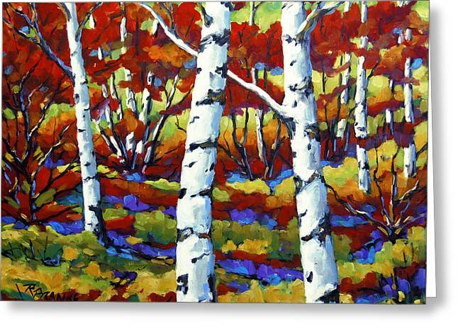 Artiste Quebecois Du Canada Greeting Cards - Season of Fire by Prankearts Greeting Card by Richard T Pranke