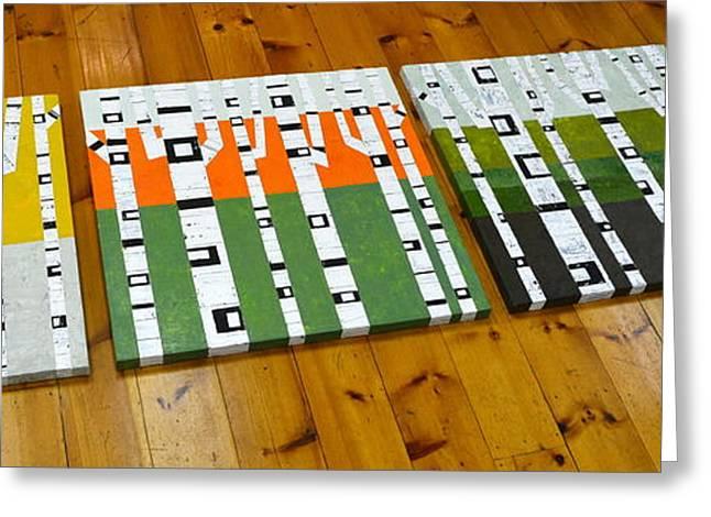 Birken Greeting Cards - Seasonal Birches - Artprize 2014 Greeting Card by Michelle Calkins