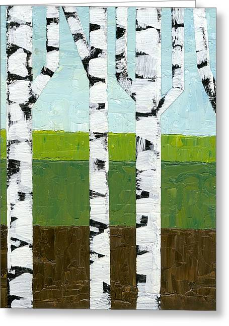Abedules Greeting Cards - Seasonal Birches - Summer Greeting Card by Michelle Calkins