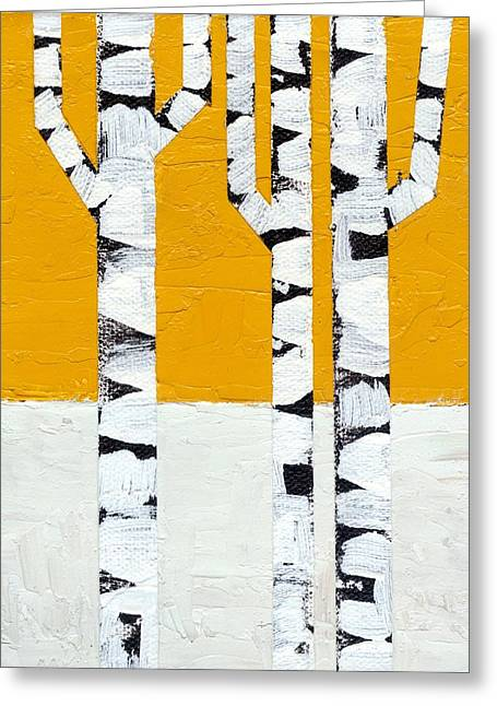 Abedules Greeting Cards - Seasonal Birches - Winter Greeting Card by Michelle Calkins