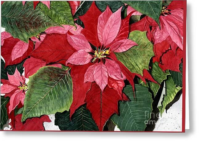 Close Up Paintings Greeting Cards - Seasonal Scarlet Greeting Card by Barbara Jewell