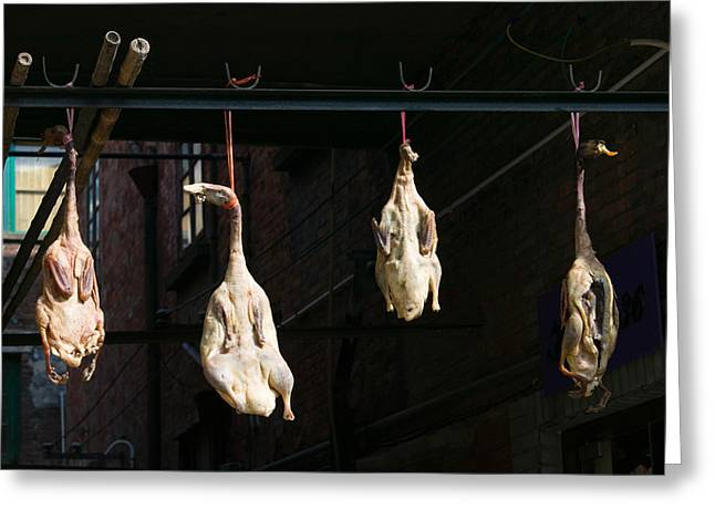 Retail Art Greeting Cards - Seasoning Peking Ducks Hanging For Sale Greeting Card by Panoramic Images