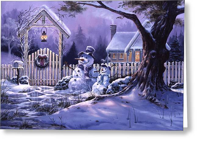 Snowman Christmas Card Greeting Cards - Seasons Greeters Greeting Card by Michael Humphries