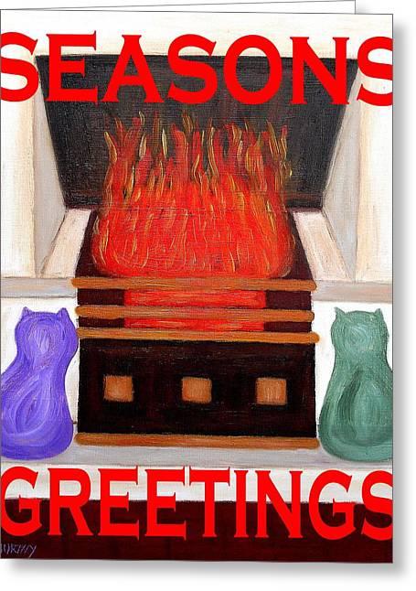 Cat Christmas Cards Greeting Cards - Seasons Greetings 65 Greeting Card by Patrick J Murphy
