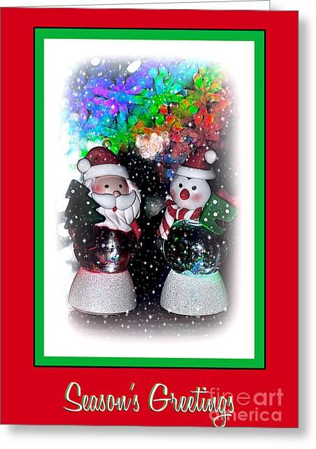 Snow Globe Greeting Cards - Seasons Greetings by Kaye Menner Greeting Card by Kaye Menner