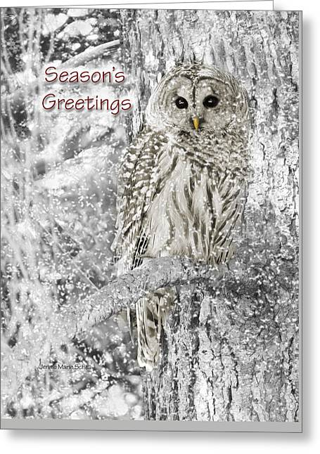 Bird Of Prey Greeting Card Greeting Cards - Seasons Greetings Card Winter Barred Owl Greeting Card by Jennie Marie Schell