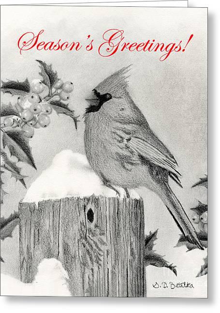 Berry Drawings Greeting Cards - Seasons Greetings Cardinal And Holly Greeting Card by Sarah Batalka
