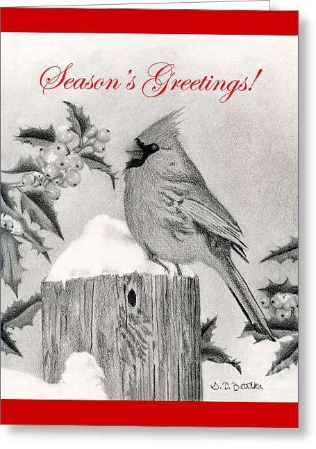 Season's Greetings Cardinal And Holly Greeting Card by Sarah Batalka