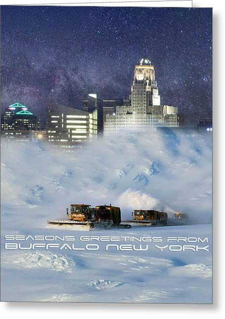 Blizzard New York Greeting Cards - Seasons Greetings From Buffalo Greeting Card by Peter Chilelli