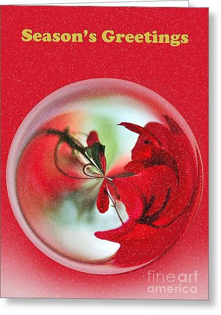 Snow Globe Greeting Cards - Seasons Greetings Greeting Card by Kaye Menner