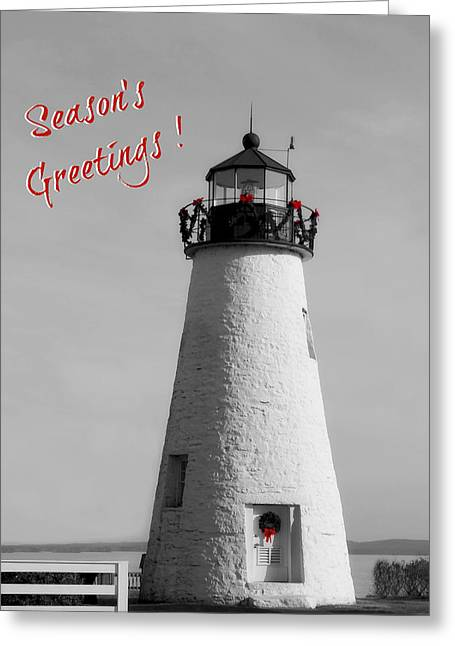 Concord Point Greeting Cards - Seasons Greetings Lighthouse Greeting Card by Brenda Conrad