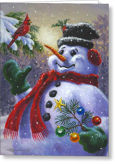 Snowman. Greeting Cards - Seasons Greetings Greeting Card by Richard De Wolfe