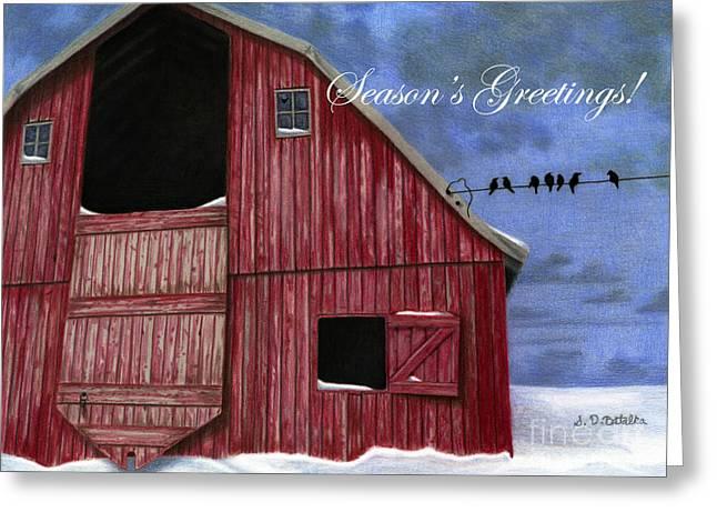Red Barn In Snow Greeting Cards - Seasons Greetings- Rustic Red Barn In Winter Greeting Card by Sarah Batalka