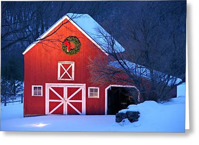 New England Snow Scene Greeting Cards - Seasons Greetings Greeting Card by Thomas Schoeller