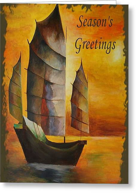 Fishing Enthusiast Greeting Cards - Seasons Greetings Greeting Card by Tracey Harrington-Simpson