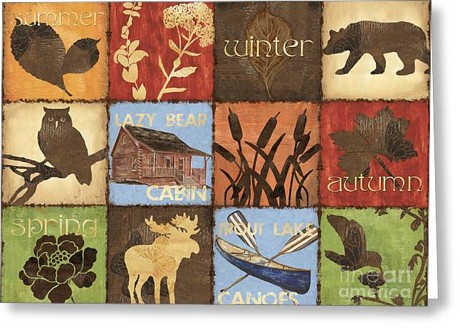 Hunting Cabin Greeting Cards - Seasons Lodge Greeting Card by Debbie DeWitt