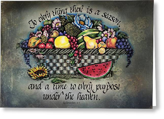 Scripture Mixed Media Greeting Cards - Seasons Scripture Greeting Card by La Rae  Roberts