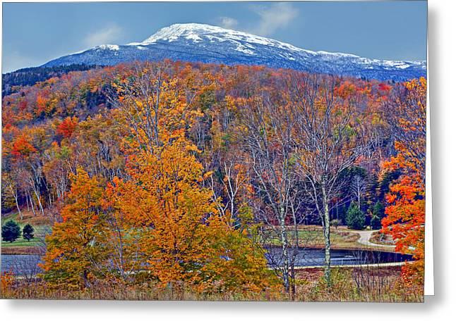New England Snow Scene Greeting Cards - Seasons Shift - Mount Washington - White Mountains Greeting Card by Nikolyn McDonald