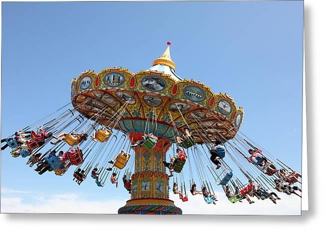Seaswings At Santa Cruz Beach Boardwalk California 5D23905 Greeting Card by Wingsdomain Art and Photography