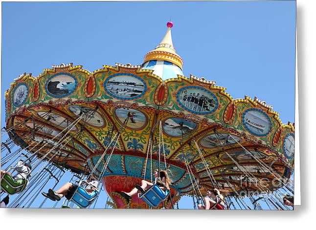 Santa Cruz Ca Photographs Greeting Cards - Seaswings At Santa Cruz Beach Boardwalk California 5D23907 Greeting Card by Wingsdomain Art and Photography