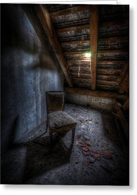 Empty Chairs Digital Greeting Cards - Seat in darkenss Greeting Card by Nathan Wright