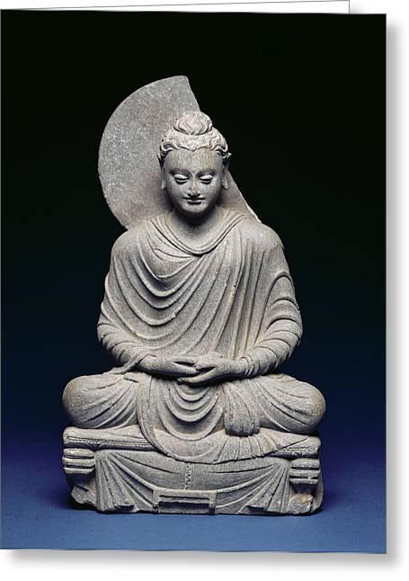 Legs Crossed Greeting Cards - Seated Buddha, Gandhara, 1st-3rd Greeting Card by Pakistani School