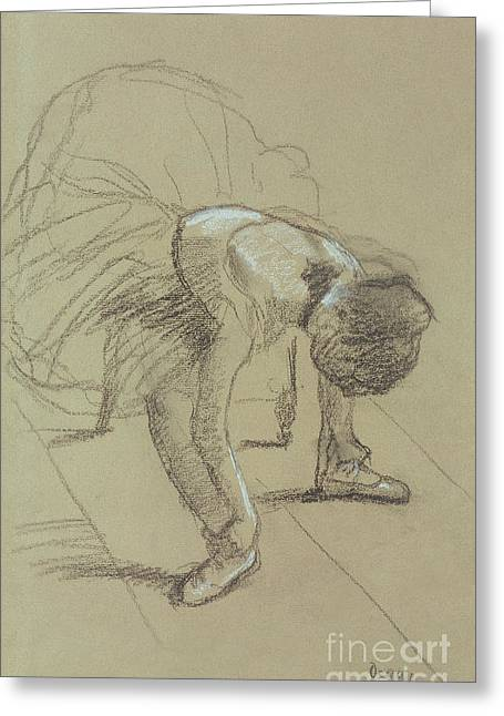 Ballerinas Pastels Greeting Cards - Seated Dancer Adjusting her Shoes Greeting Card by Edgar Degas