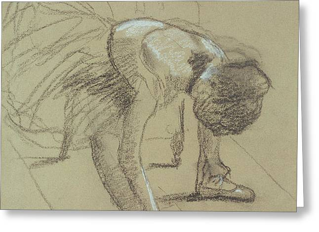 Seated Dancer Adjusting her Shoes Greeting Card by Edgar Degas