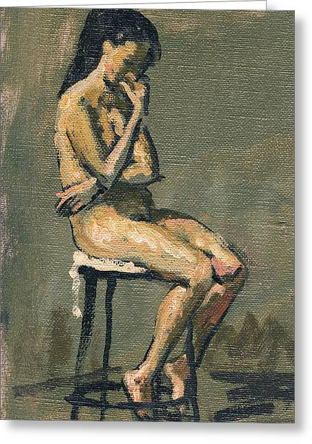 Seated Female Nude / Pensive Greeting Card by Thor Wickstrom