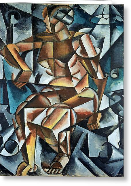 Cubist Paintings Greeting Cards - Seated Figure, 1914-15 Greeting Card by Lyubov Sergeevna Popova